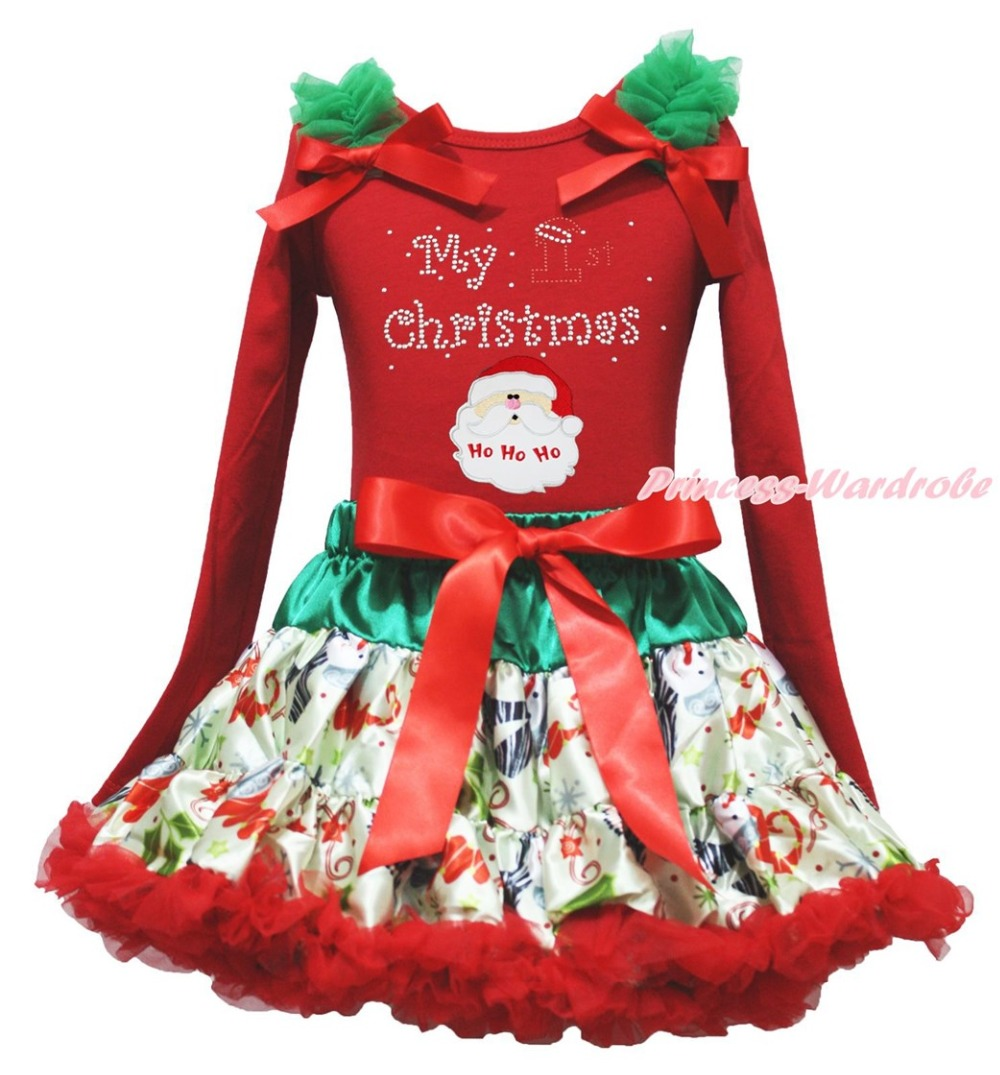 My 1ST Christmas Santa Claus Red Top Snowman Skirt Girl Clothing Outfit Set 1-8Y my 1st christmas santa claus white top minnie dot petal skirt girls outfit nb 8y