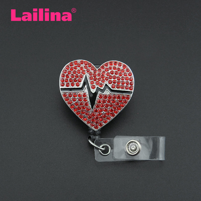 US $34 11 18% OFF 10pcs/lot Enamel ECG Stretchable ID Badge Holder Nurse  Red Rhinestone Heart Badge Reel-in Brooches from Jewelry & Accessories on