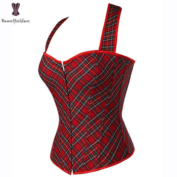 Halterneck Lattice Corset Overbust Sexy Red Korset Waist Slimming Fish Boned Korsett For Women Outfit Gorset Top Bustier Cincher 1