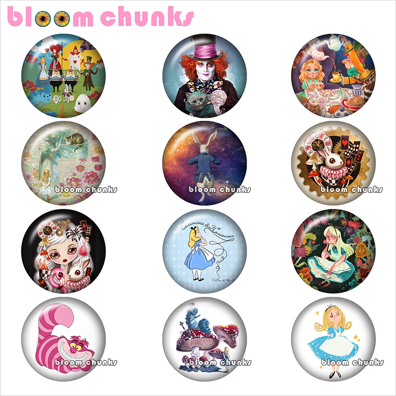 Cartoon girl cat rabbit Round photo glass cabochon demo flat back Making findings 12mm/18mm/20mm/25mm TL1071