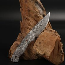 Damascus Billet Sharp Fixed blade Hunting Knife Handmade forged camping knifeblade 58HRC psrk very sharp mini handmade forged damascus steel high quality steel hunting knife edc tools with excellent leather sheat