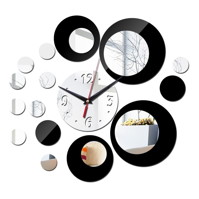11e687501 أعلى أزياء جديد مزدوج اللون 3d الاكريليك ساعة الحائط ديكور المنزل ملصقات diy  خمر مرآة الحديثة تصميم ووتش freeshipping
