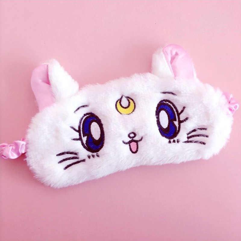 1pc סיילור מון חמוד פרוותי רטייה ירח חתול קרטון עין כיסוי קטיפה שינה עין מסכת פאזי כיסוי עיניים כיסוי פלאפי מצחייה