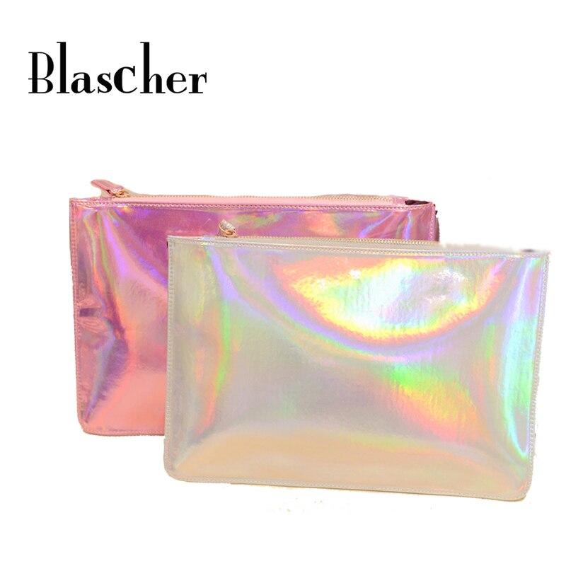 Blascher Hot Sale Women Handbags New Fashion Women Laser Color Evening Bags Hologram Envelope Silver Pink Clutch SCA01