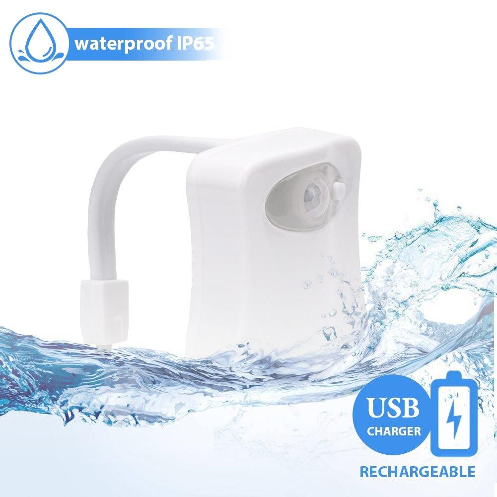 8 Colors LED Toilet Light Motion Sensor Activated Bathroom Night Lights USB Rechargeable Lumiere LED Toilette WC Lamparas Light