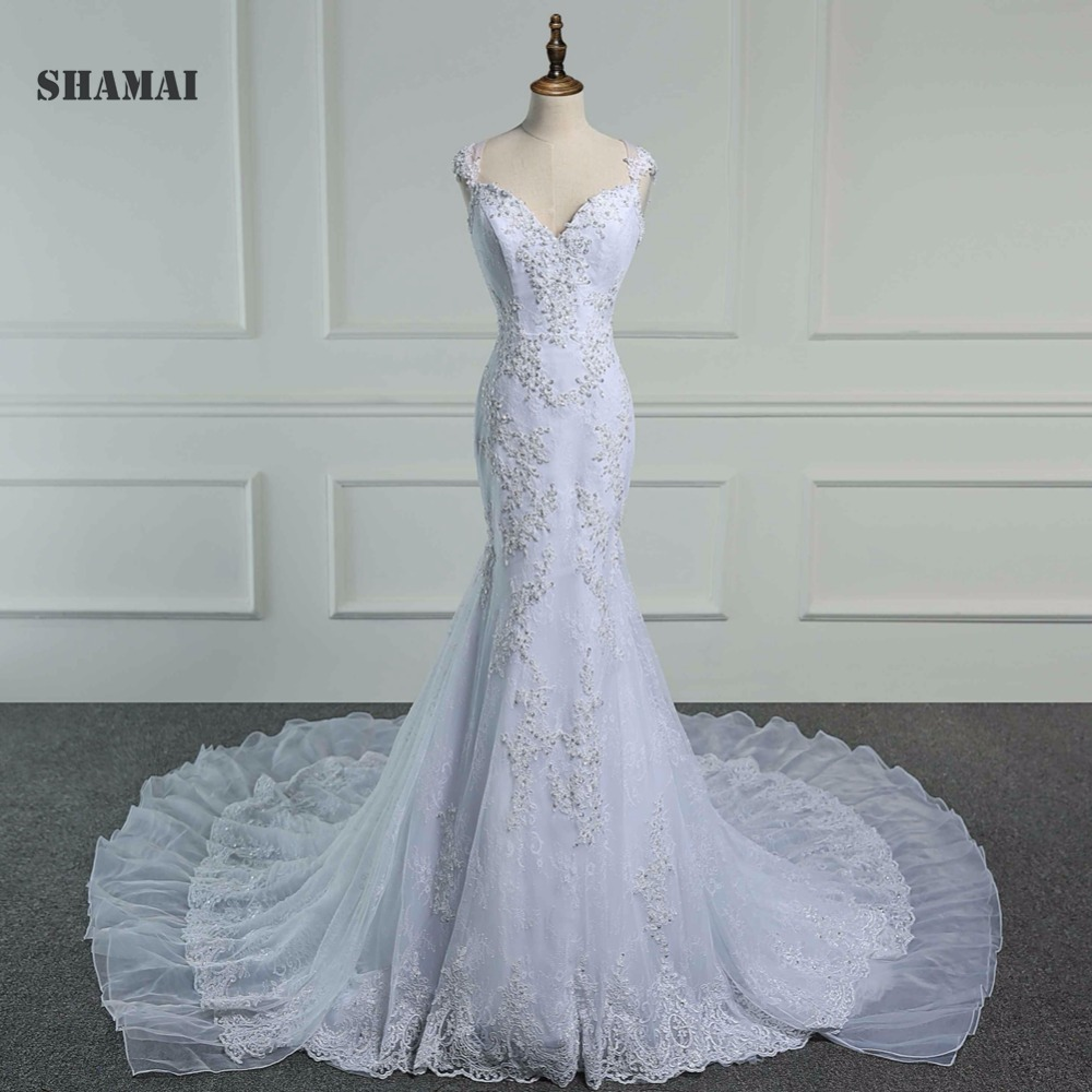 SHAMAI Wedding Dress Floral Appliques Sexy Illusion Formal Dress Chapel Train Lace Mermaid Wedding Dress New Vestido de Noiva