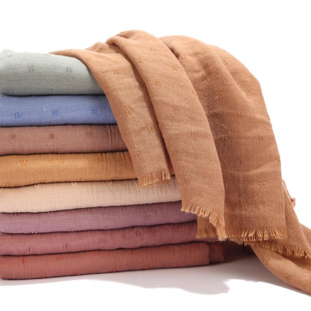 Women Cotton Voile Scarf Pleated Square Blocks Plain Shawl Muslim Tudung Muslim Hijab Scarves Head Scarf Wraps