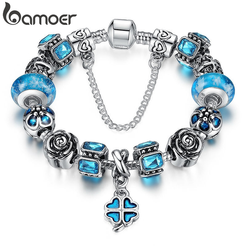 BAMOER Antique Silver Blue Charm Bracelet With Exquisite Leaf Clover Pendant Authentic Safety Chain Jewelry PA1860BAMOER Antique Silver Blue Charm Bracelet With Exquisite Leaf Clover Pendant Authentic Safety Chain Jewelry PA1860