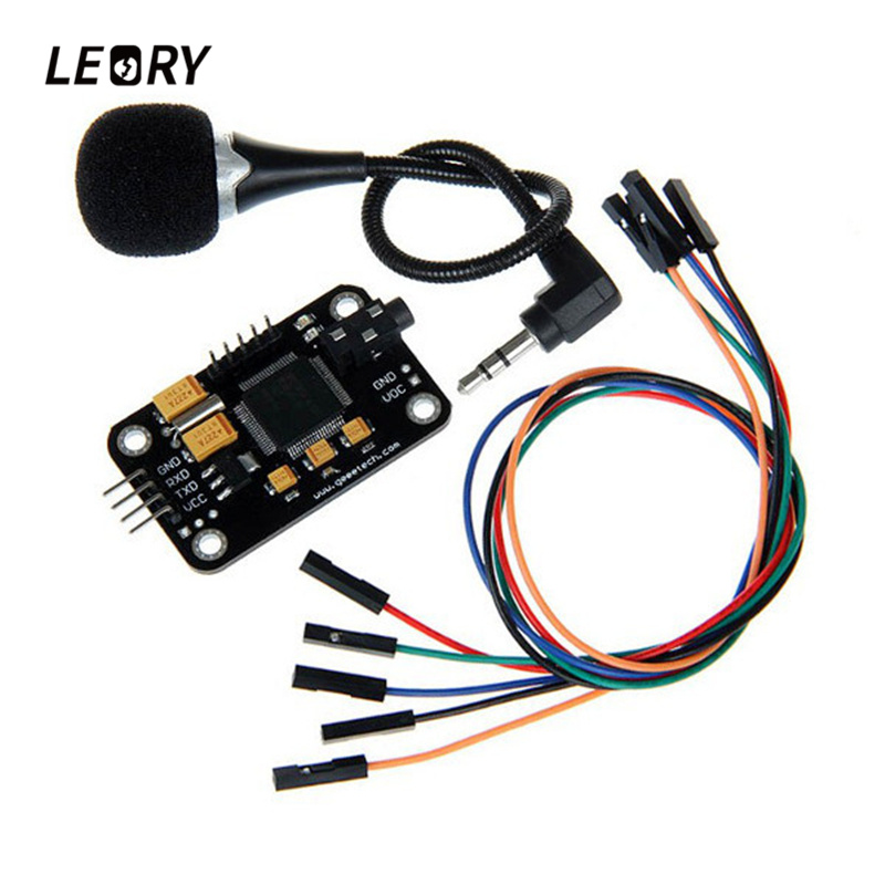 LEORY Voice Recognition Module With Microphone Dupont Jumper Wire Speech Recognition Voice Control Board For Arduino Compatible arduino wav player 22 1khz voice play sound broadcast module compatible with rpi stm32