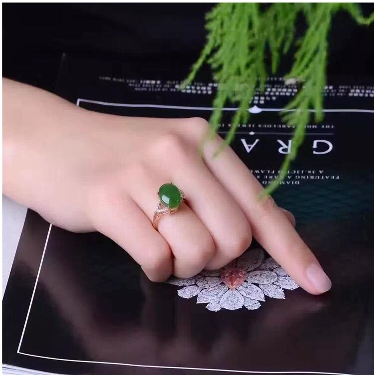 где купить Free shipping Woman Ring Natural Hetian Jasper Ring 925 sterling silver Ring Wholesales Fine jewelry 10*12mm Gem Size по лучшей цене