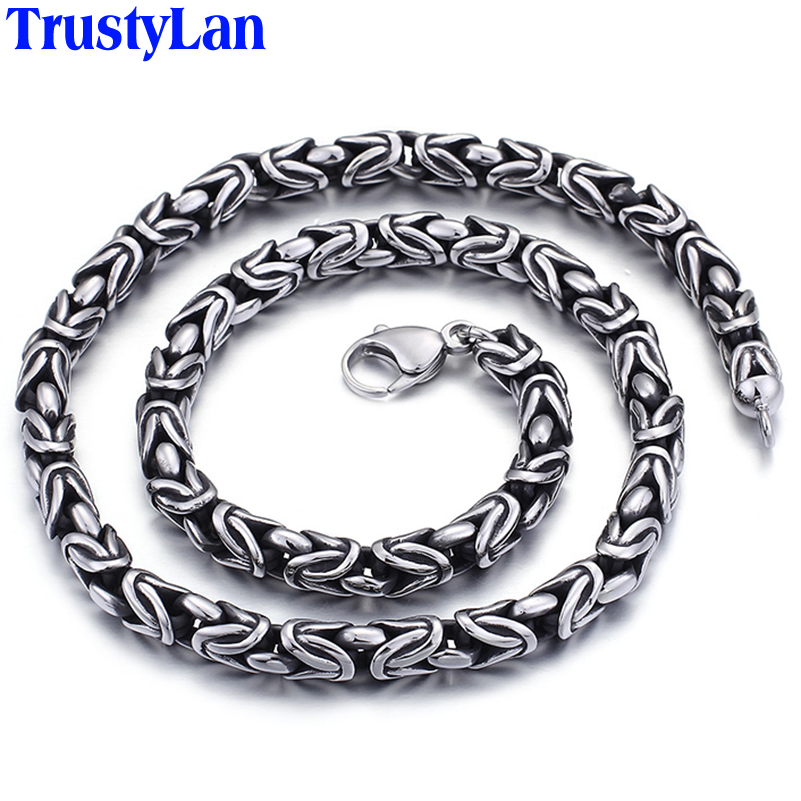 TrustyLan Fashion Men Jewelry Vintage Stainless Steel Chains Necklaces Silver Color 60CM Long Necklace Jewellery Collares