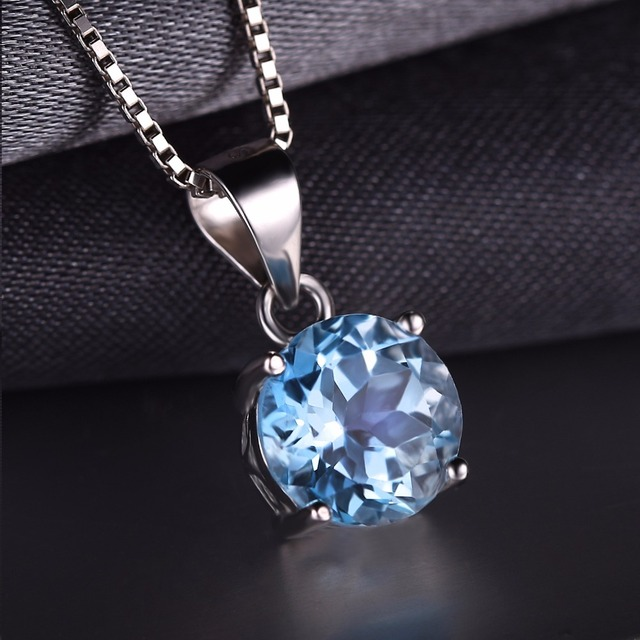 2.4ct Natural stone Sky Blue Topaz Pendants Round Cut Real Pure Solid 925 Sterling Silver Jewelry Not Include the Chain