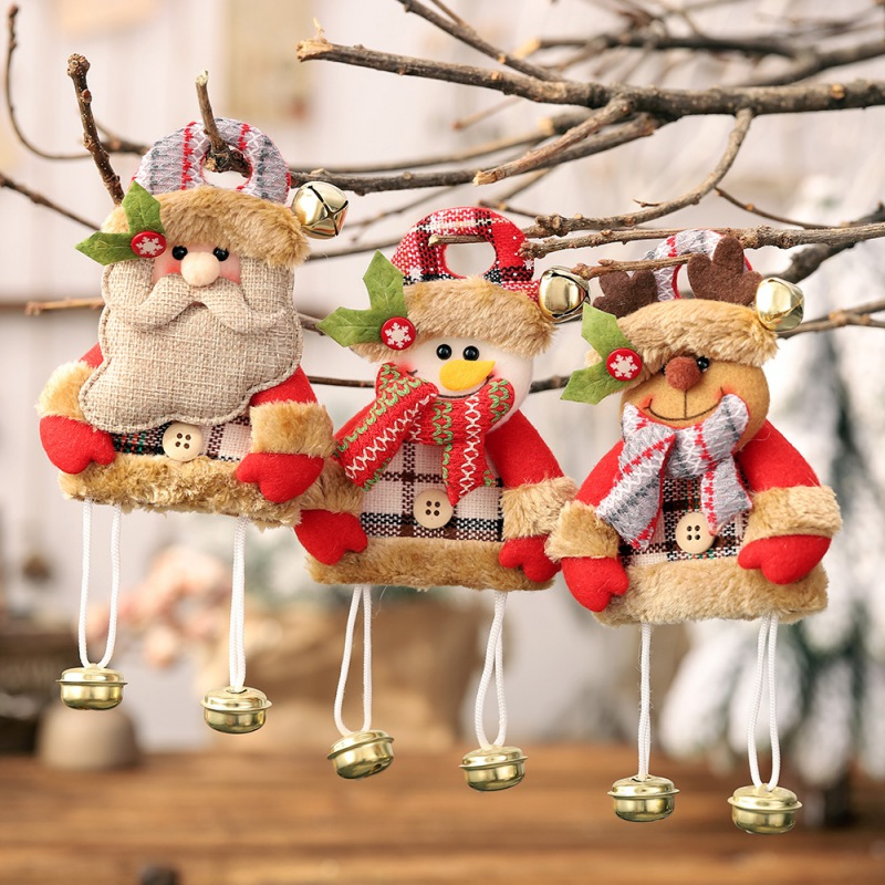 Christmas Hanging Ornaments With Bells 3D Tree Santa Snowman Gift Home Xmas Drop Decoration