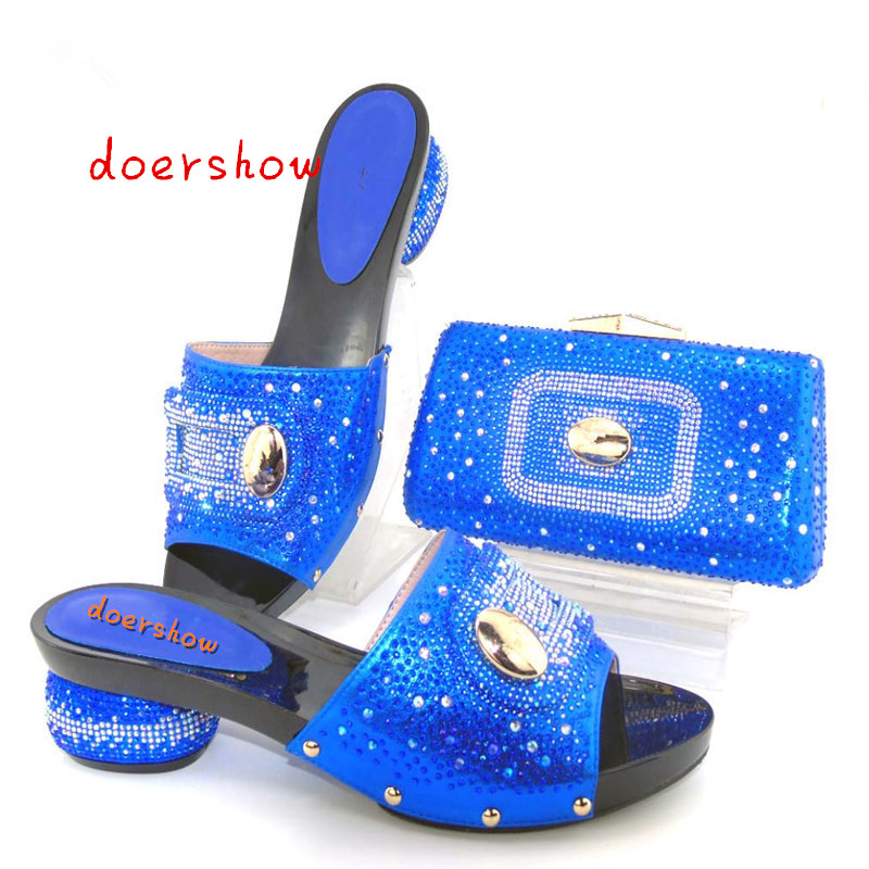 doershow High quality shoes and bag for Italian design,Ladies shoes and bags to match set with Royal Blue. TYS1-8 top selling italian shoes and bag to match good quality fashionable shoes and bag set for lady doershow pme1 12