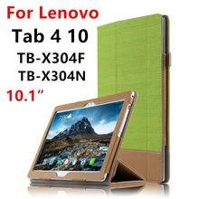 Caso Para Lenovo Tab 4 10 Cubierta Protectora Tab410 Protector Inteligente fundas de Cuero de LA PU TB-X304L TB-X304F N los Casos de Tablet PC 10.1 pulgadas