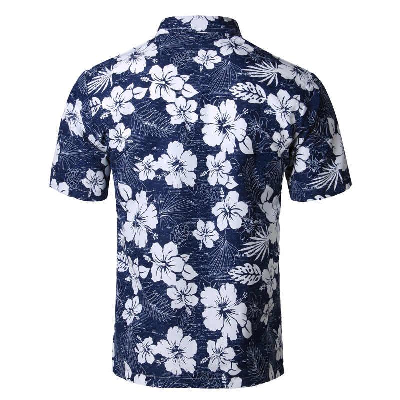 Мужская Летняя Пляжная гавайская рубашка 2018, брендовые рубашки с коротким рукавом размера плюс с цветочным принтом, мужская повседневная одежда для отдыха