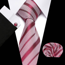 High Quality Tie Set for Men Red Striped and Pocket Square Black Necktie Man Corbatas Hombre Handkerchief Wedding