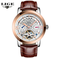 LIGE Watches Men 2016 New Fashion Mechanical Business Tourbillon Watches For Male Waterproof Hollow Leather Wristwatches Relojes