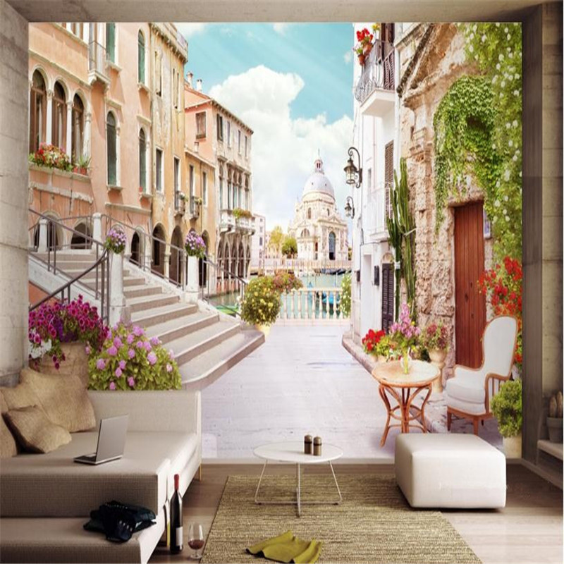 custom non-woven wallpaper modern 3D Europe living room bedroom background wall mural Italy urban landscape wallpaper home decor custom baby wallpaper snow white and the seven dwarfs bedroom for the children s room mural backdrop stereoscopic 3d