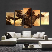 5 Panel Movie Poster Star Wars Bounty Hunter Boba Fett Canvas Painting On The Wall Pictures For Living Room Oil Modular