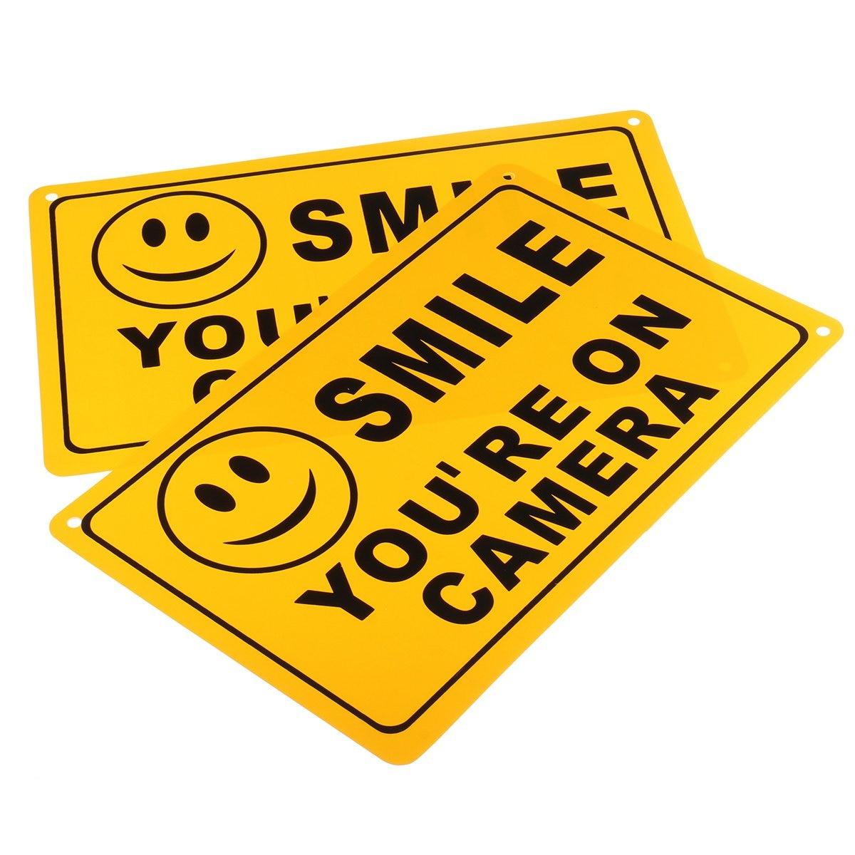 Safurance 2x Улыбка Вы на камеру Бизнес Предупреждение безопасности Желтый Знак 11 х 7/28x18 см Детская Безопасность видеонаблюдения