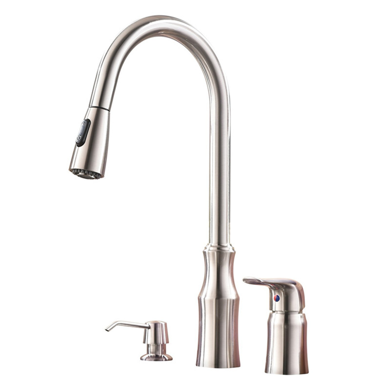 Modern High Arc Stainless Steel Single Handle Pull Down Kitchen Sink Faucet Brushed Nickel Kitchen Fauce with Soap Dispenser cheaper stainless steel liquid soap dispenser kitchen sink soap box free shipping chrome finished