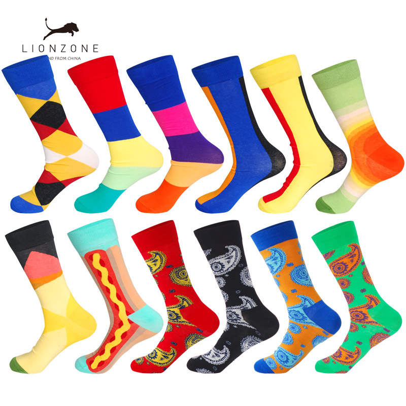 LIONZONE 12Pairs/Lot Funny Mens Bright Colorful Combed Cotton Dress Sock Straight Tube National Style Happy Crew Socks