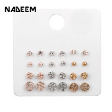 12Pairs/Sets Geometric Gold Rose Silver Color Mixed Knitted Crystal Round Circle Lady Stud Earring Sets Jewelry New