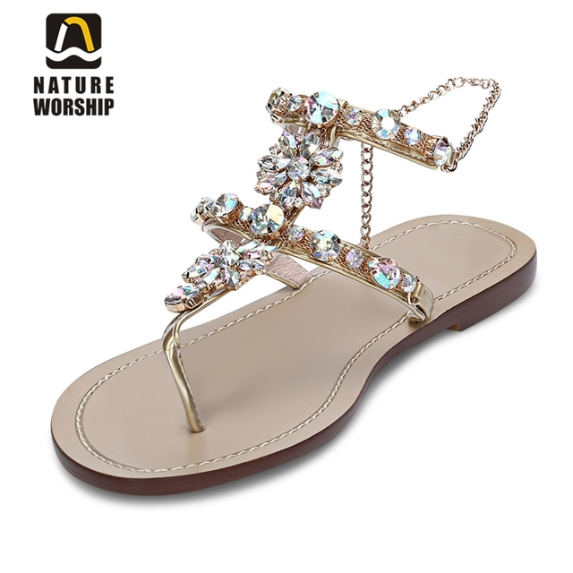1256236ad2344 Genuine Leather women shoes rhinestones chains gladiator flat sandals  crystal flats women beach summer shoes big size shoeswomen