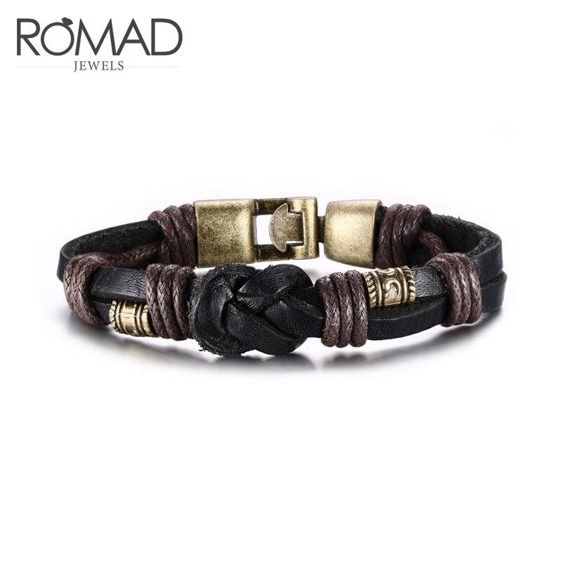 ROMAD Fashion Vintage Bracelet Bangle Genuine Leather Hand Chain Retro Color Bronze Alloy Buckle R4