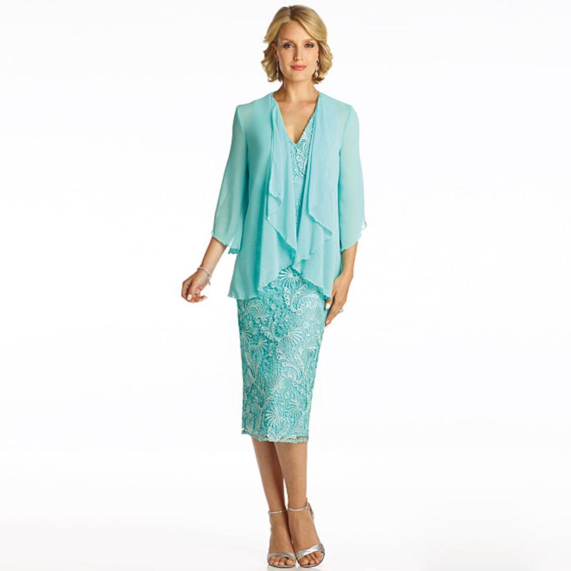 Mother Of The Bride Trendy Outfits: Stylish Sheath Mother Of The Bride Lace Dresses With