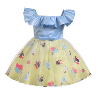 Summer baby kids girl dress toddler princess party ruffle sleeve square collar printing baby girl first birthday outfit