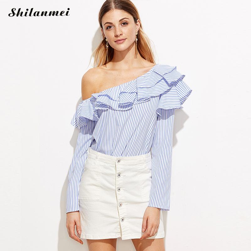 one shoulder off ruffles blouse shirt women tops 2017 summer casual blue striped shirt long. Black Bedroom Furniture Sets. Home Design Ideas