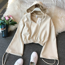 NiceMix 2019 Autumn Spring Lady New Loose Fitting V Neck Short Crop Tops Long Sleeve Lazy Student Hoodied  Sweatshirts