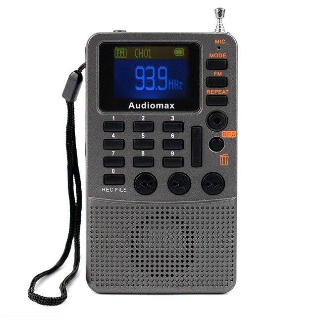 Портативный FM Стерео Радио Приемник с Mp3-плеер REC Рекордер AUX Аудио Спикер Серый Y4114H