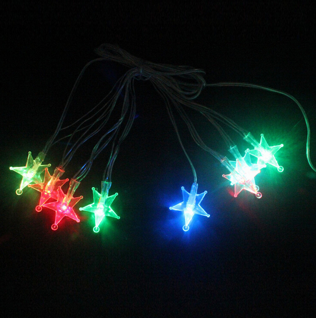 led string lights flashing holiday decorations discoloration transparent string christmas star lights string lights