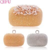 QIFU Luxurious Gold Wedding Bag Clutch Rhinestones Evening Handbags Bridal Shower Gift Wedding Decoration Bride Party