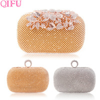 QIFU Luxurious Gold Wedding Bag Clutch Rhinestones Evening Handbags Bridal Shower Gift Wedding Decoration Bride Party