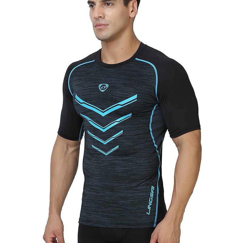 Męska czarny kompresji Gym Fitness do biegania koszulki z krótkim rękawem szczupła koszulki topy koszulki z krótkim rękawem do biegania szybkie suche nadające się do odzież sportowa