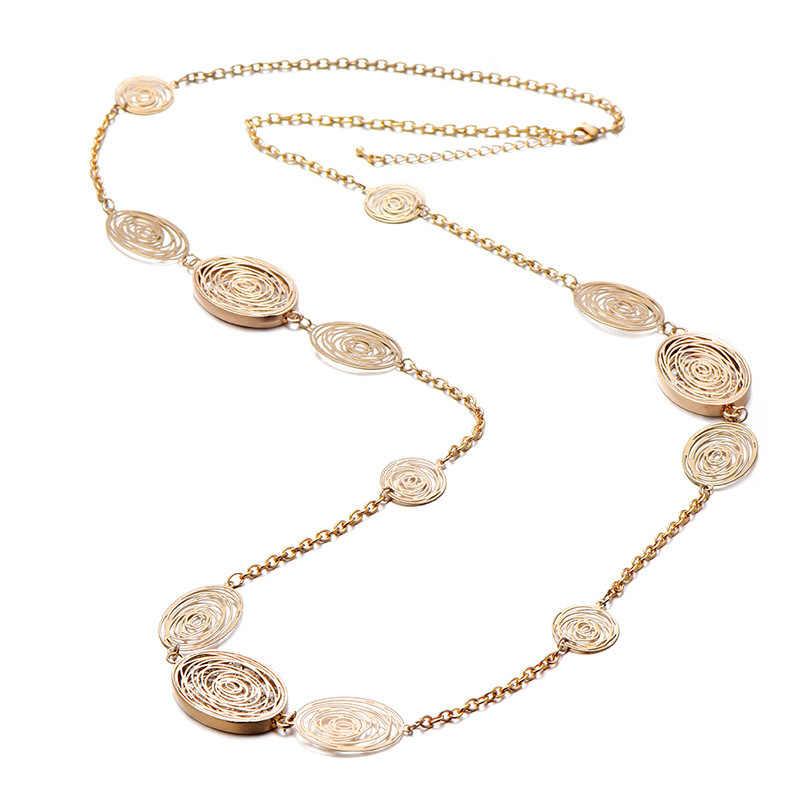 2020 böhmen Pullover Kette Halskette Für Frauen Gold Farbe Rose Hohl Strass Lange Halskette Marke Schmuck Neue Kragen femenino