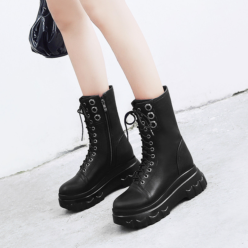 YMECHIC 2018 Autumn Winter Ladies Punk Creepers Rock Gothic Shoes Ankle Lace Up Flat Platform Military