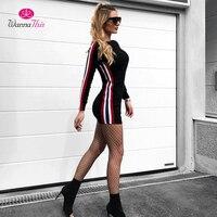 WannaThis 2017 Autumn Bodycon Dress Women Side Stripe Long Sleeve O Neck Supper Short Dresses Solid