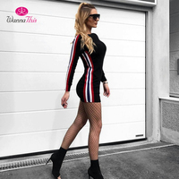 WannaThis 2017 Autumn Bodycon Dress Women Side Stripe Long Sleeve O Neck Supper Short Dresses Solid