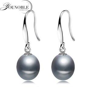 Pendientes de perlas grises de agua dulce reales para mujer, joyería de plata de ley 925 para boda, pendiente de perlas naturales negras, regalo de cumpleaños para niña