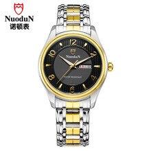 Nuodun Hombres de Moda Reloj de Cuarzo de Acero Inoxidable Reloj Impermeable Reloj Casual Dulce Día de San Valentín de Regalo de Lujo Para Hombre