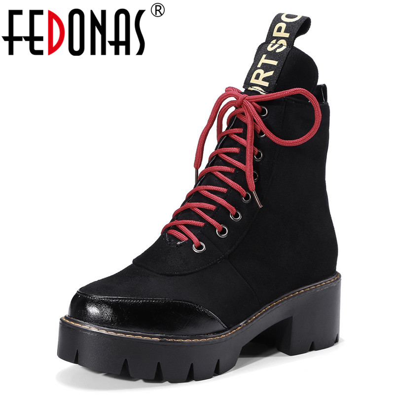 FEDONAS Punk Women Ankle Boots Thick High Heels Autumn Winter Ladies Shoes Woman Platforms Lace Up