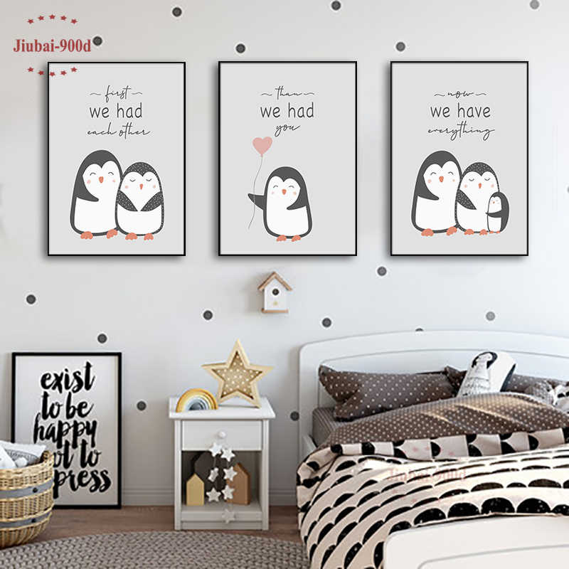 Nursery Wall Art Decorative Cartoon Animal Penguin Pictures Canvas Painting Baby Room Wall Decoration Posters and Prints NUR31