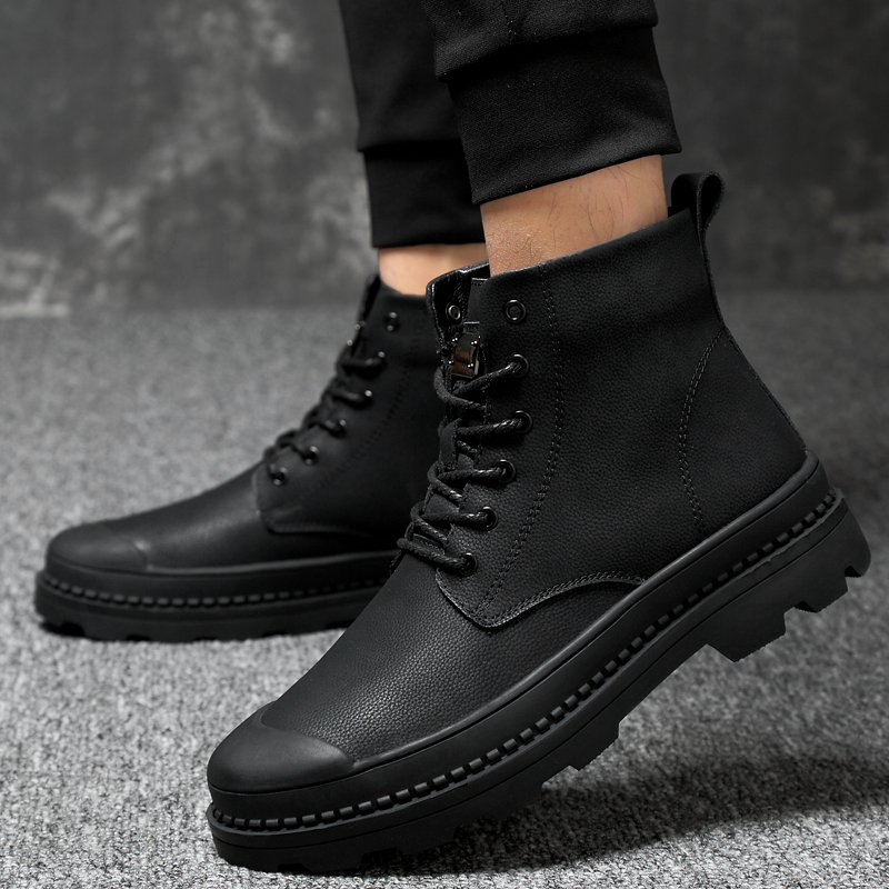 Genuine Leather Men Boots Men Casual Shoes Fashion Ankle Boots For Men High Top With Fur Warm Winter Men Snow Boots Size 38-46 3