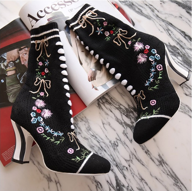 2017 Hot Autumn Winter Shoes Woman Stretch Fabric Embroider Woman Boots Designer Runway High Heels Boots Mujer Mid-Calf Boots цена
