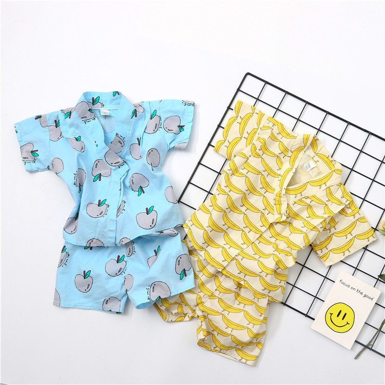 fashion 2017 summer Children's Causal set t-shirts and shorts boys girls apple banana pattern Suits pajamas clothes 2pcs fashion handpainted palm sea sailing pattern hot summer jazz hat for boys